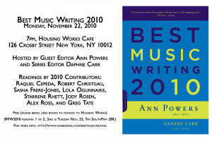Come To The Best Music Writing Reading Tonight!