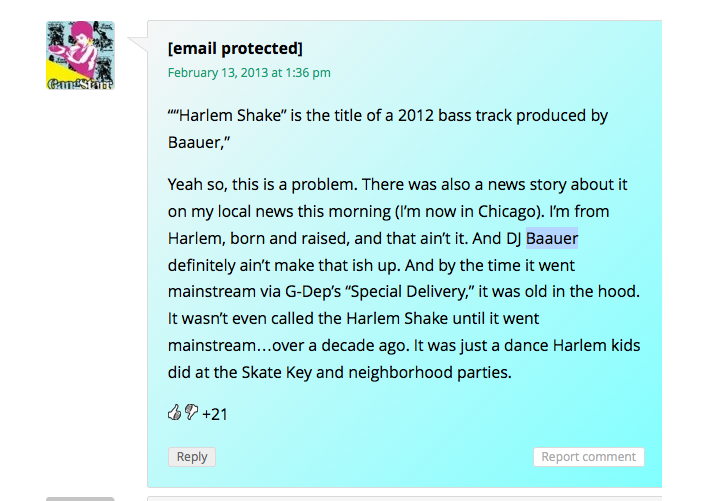 Harlem Shake Comment on Clutch Magazine